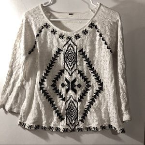 Free people Tribal Aztec lace long sleeve